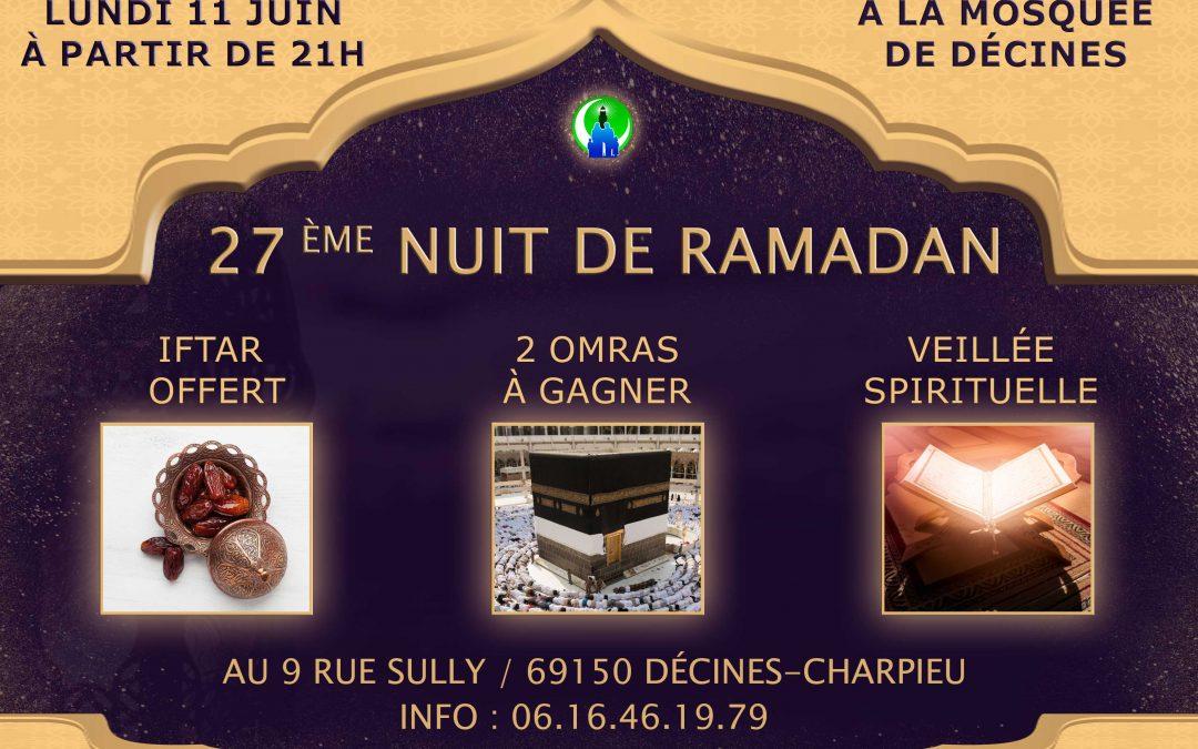 27 ème nuit de RAMADAN à la mosquée de Décines